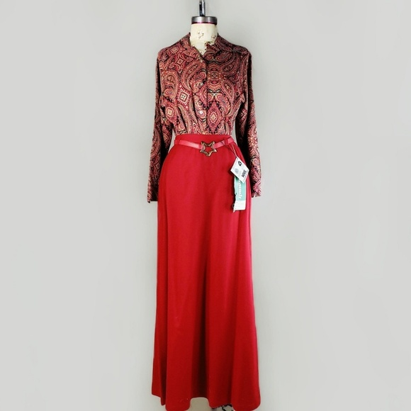 Vintage Dresses & Skirts - Summit of Boston 1970s red wool maxi skirt.